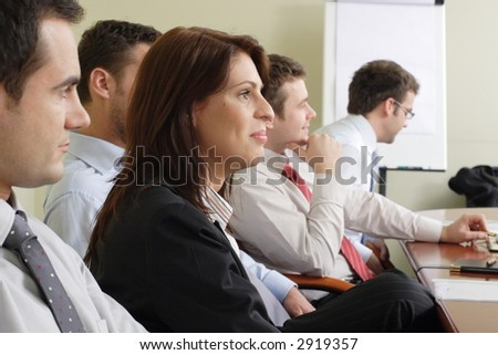 group of professionals at the informal meeting - stock photo
