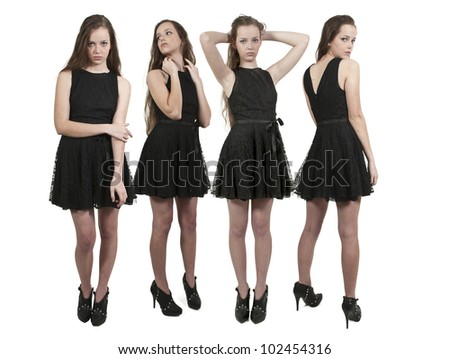Group of quadruplet young beautiful women teenager girls - stock photo