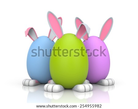 Group of rabbits in the colored eggs - stock photo