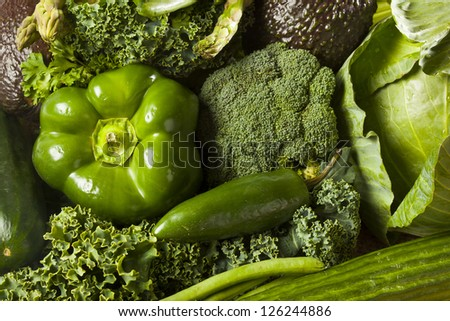 Group of Raw Fresh Organic Assorted Green Vegetables - stock photo