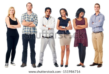 group of real confident people smiling arms crossed isolated on white