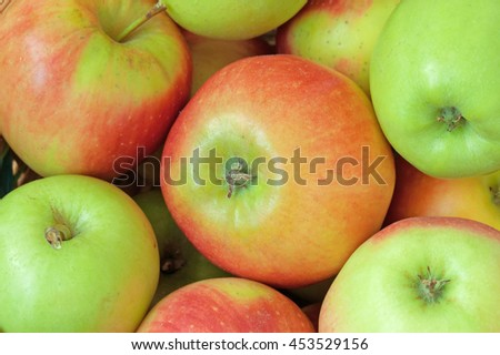 Group of red and green apples background