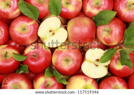 Group of red apples with their leaves - stock photo
