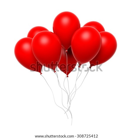 Group of red blank balloons isolated on white background - stock photo