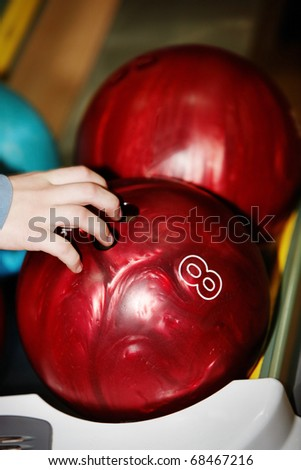 Group of red bowling ball. Still life. - stock photo