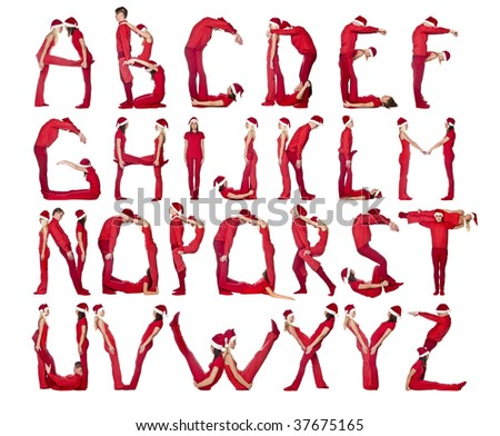 Group of red dressed people forming the alphabet. - stock photo