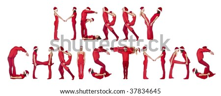 Group of red dressed people forming the phrase 'Merry Christmas', isolated on white. - stock photo