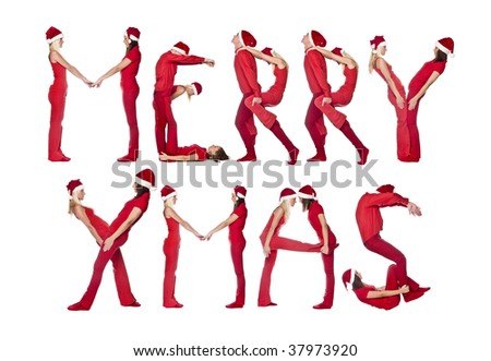 Group of red dressed people forming the phrase 'MERRY XMAS', isolated on white. - stock photo