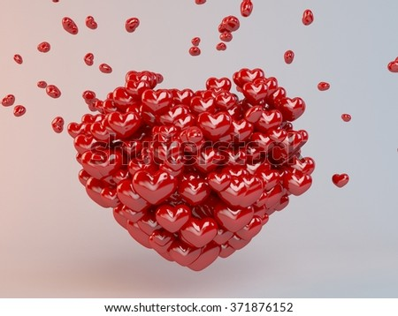 Group of red  hearts balloons forming a heart  inside a 3d white stage - stock photo