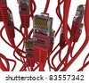 Group of red network cable on white background - stock photo