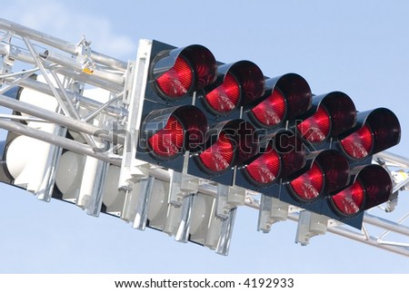 Group of red racing lights