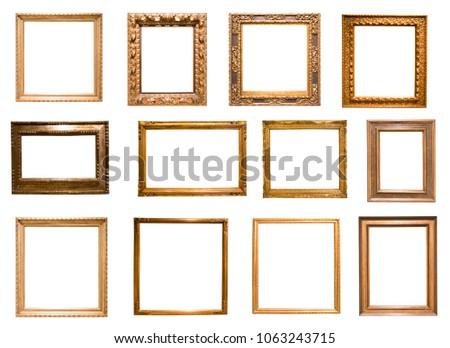 Group Retro Golden Rectangular Frame Photography Stock Photo ...
