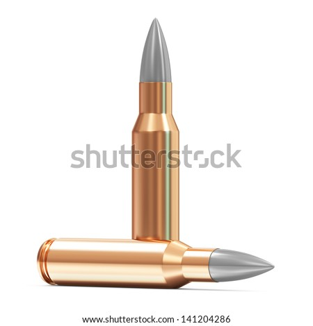 Group of Rifle Bullet isolated on white background - stock photo