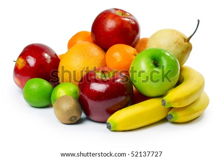 Group of ripe fruits - stock photo