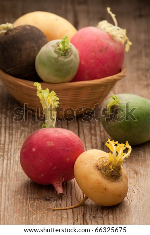 Group of ripe variegated radishes in rustic woven bowl on the old wooden board - stock photo