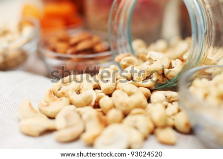 Group of roasted cashew nuts - stock photo