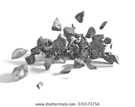 Group of rocks and stones boulders on white background. 3d render illustration