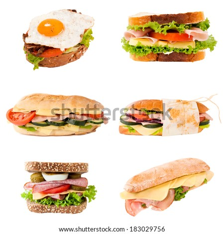 Group of sandwiches in isolated on white background - stock photo