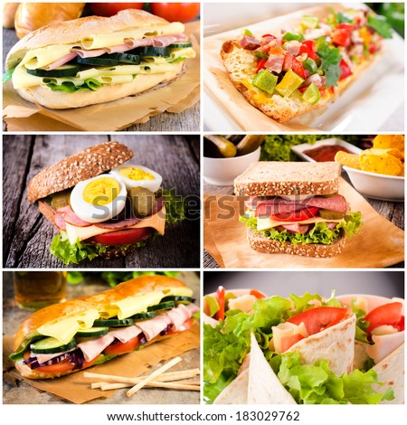 Group of sandwiches in tortilla and toast bread - stock photo