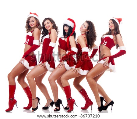 group of santa women showing their sexy legs  on a white background