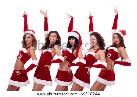 group of santa women with one hand in the air, over white