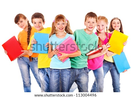 Group of school child with book.  Isolated. - stock photo