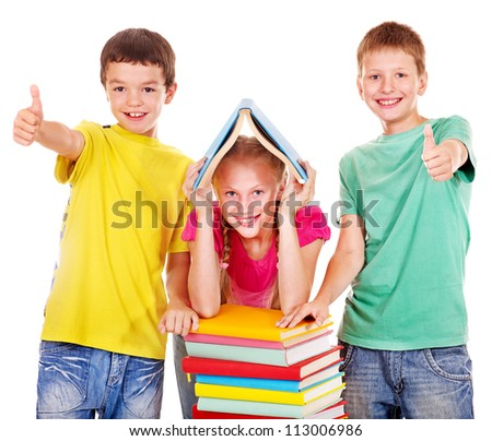 Group of school child with book.  Isolated.