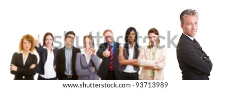 Group of senior business man with his team partners - stock photo