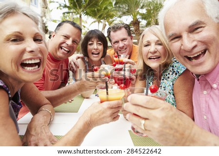 Group Of Senior Friends Enjoying Cocktails In Bar Together - stock photo
