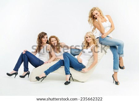 Group of sexy female friends - stock photo