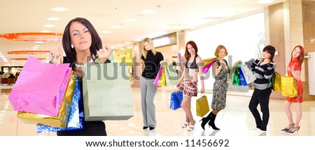 "Group of  shopping girls in a mall  `- See similar images of this ""Gorgeous shopping women"" series in my portfolio"