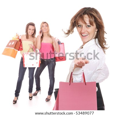 Group of shopping girls over white background
