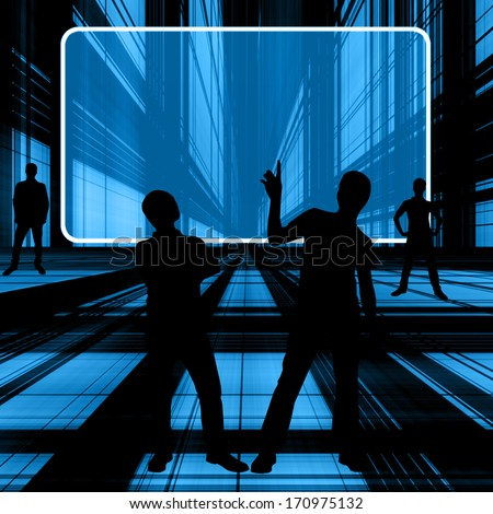 Group Of Silouette People Working With Blank Screen For Ideas - stock photo