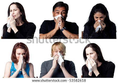 Group of six people, showing people sneezing - stock photo