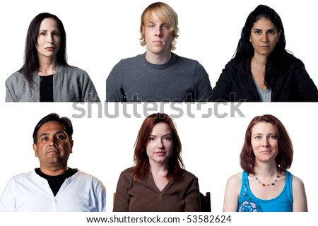 Group of six people staring at the camera - stock photo