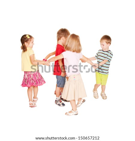Group of small kids dancing, holding hands and having fun. Joyful party. Childhood concept, ready for your text, logo or symbols. Isolated on white background.