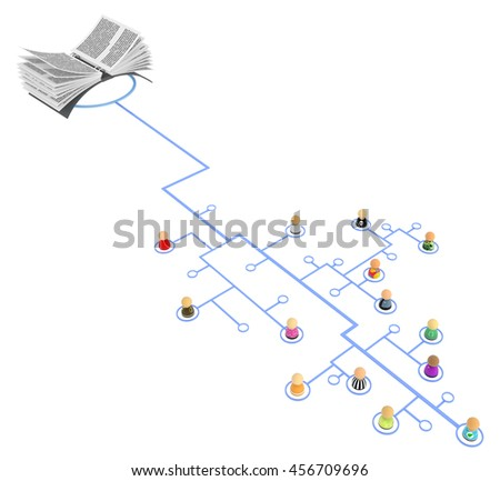 Group of small symbolic figures linked by lines, 3d illustration, horizontal
