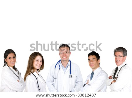 Group of smiley doctors isolated over white - stock photo