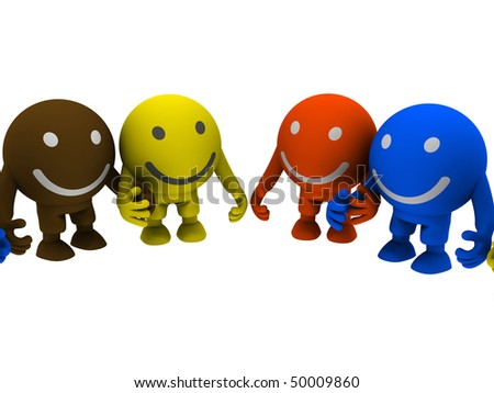 Group of smileys, holding hands. Isolated on white - stock photo