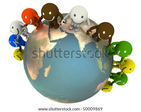 Group of smileys located around the globe. Concept render - stock photo