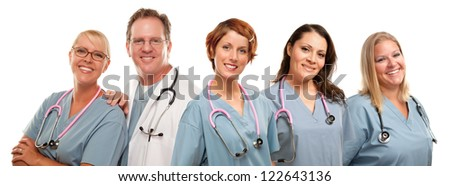 Group of Smiling Male and Female Doctors or Nurses Isolated on a White Background. - stock photo