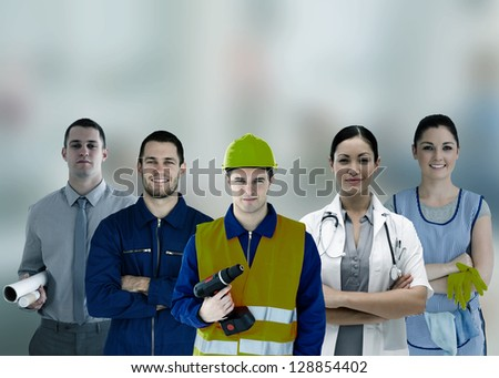 Group of smiling people with different jobs in grey tint