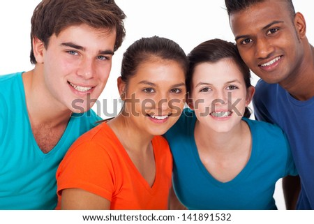 group of smiling young diversity people on white background - stock photo