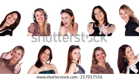 Group of smiling young women isolated on white background. Collage