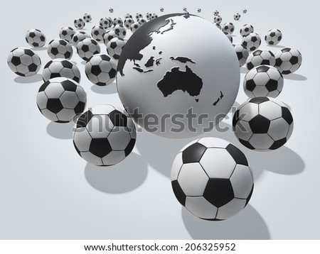Group of soccer balls with globe. Australia and Oceania view. Image contain clipping path. - stock photo