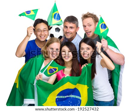 Group of soccer fans from different country  - stock photo
