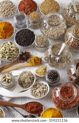 group of spices on the white background