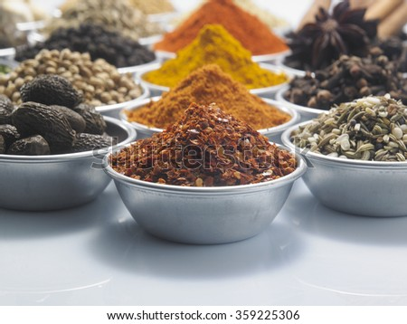 group of spices on the white background - stock photo