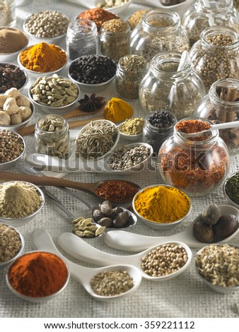 group of spices on the white sackcloth