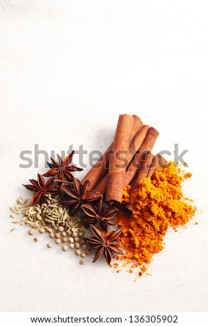 group of spices ,turmeric,cinnamon,pepper and anise star - stock photo